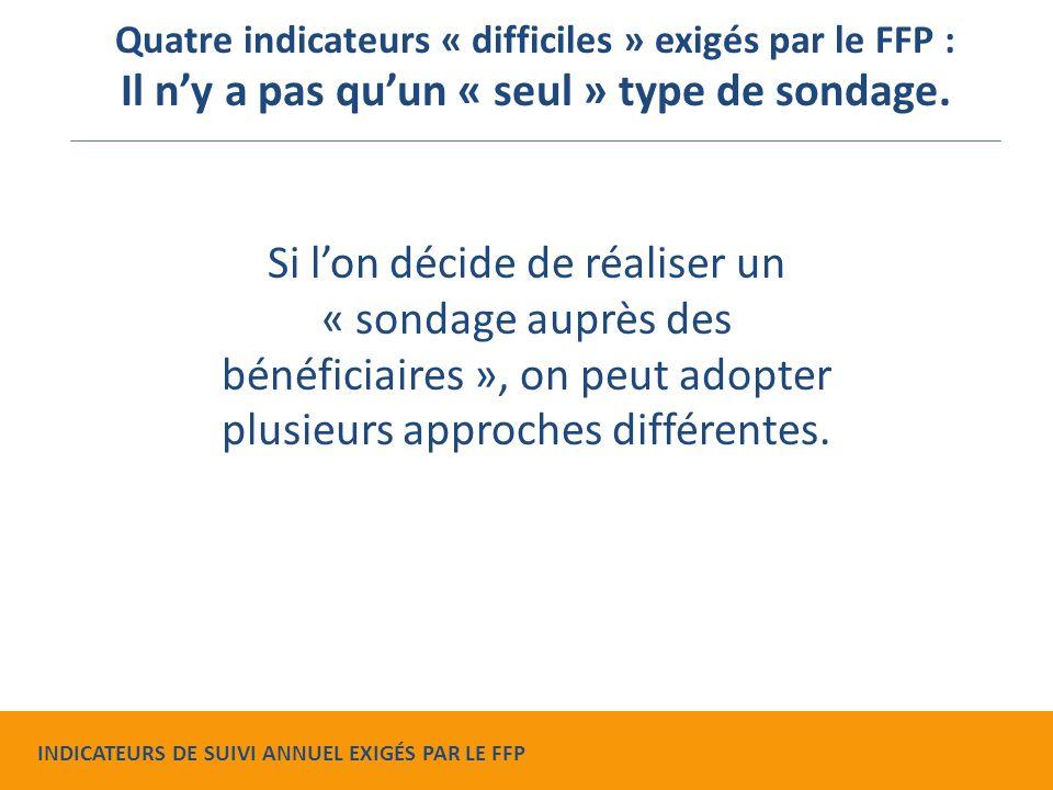Si l'on décide de réaliser un « sondage auprès des bénéficiaires », on peut adopter plusieurs approches différentes.