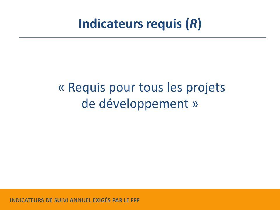 Trois indicateurs : 1.Augmentation totale de la capacité de stockage mise en place (en m 3 ) 2.Amélioration ou construction de routes (en kilomètres) 3.Nombre d'infrastructures de marché réhabilitées et/ou construites On peut réaliser la collecte de données à partir des dossiers du projet Autres indicateurs exigés par le FFP : Indicateurs relatifs aux infrastructures INDICATEURS DE SUIVI ANNUEL EXIGÉS PAR LE FFP
