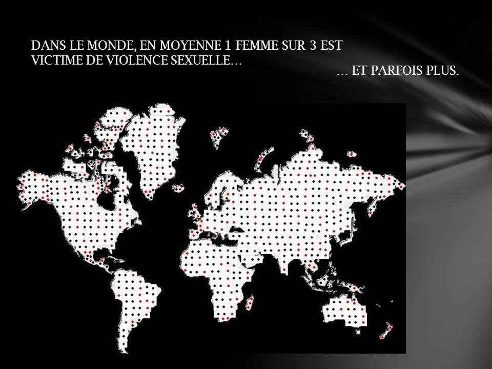 DANS LE MONDE, EN MOYENNE 1 FEMME SUR 3 EST VICTIME DE VIOLENCE SEXUELLE… … ET PARFOIS PLUS.