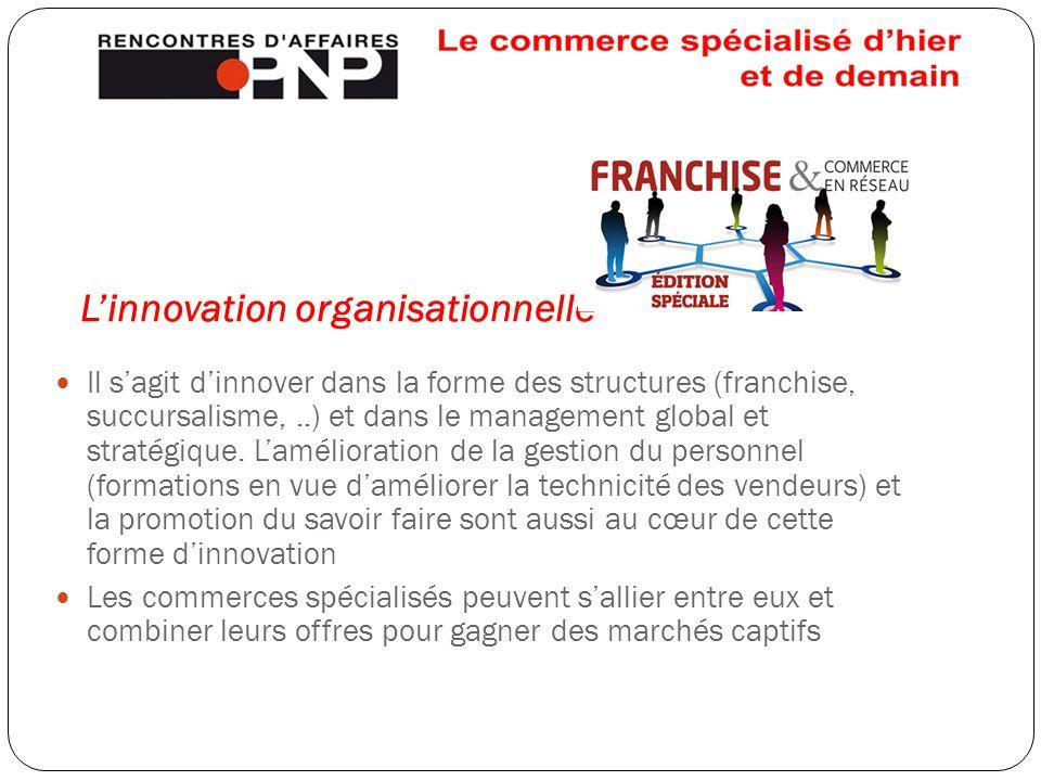 L'innovation organisationnelle Il s'agit d'innover dans la forme des structures (franchise, succursalisme,..) et dans le management global et stratégi