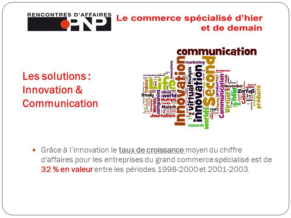 Les solutions : Innovation & Communication Grâce à l'innovation le taux de croissance moyen du chiffre d affaires pour les entreprises du grand commerce spécialisé est de 32 % en valeur entre les périodes 1998-2000 et 2001-2003.