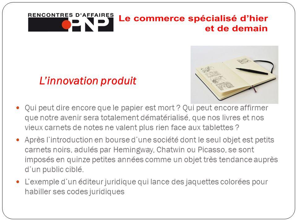 L'innovation produit Qui peut dire encore que le papier est mort ? Qui peut encore affirmer que notre avenir sera totalement dématérialisé, que nos li