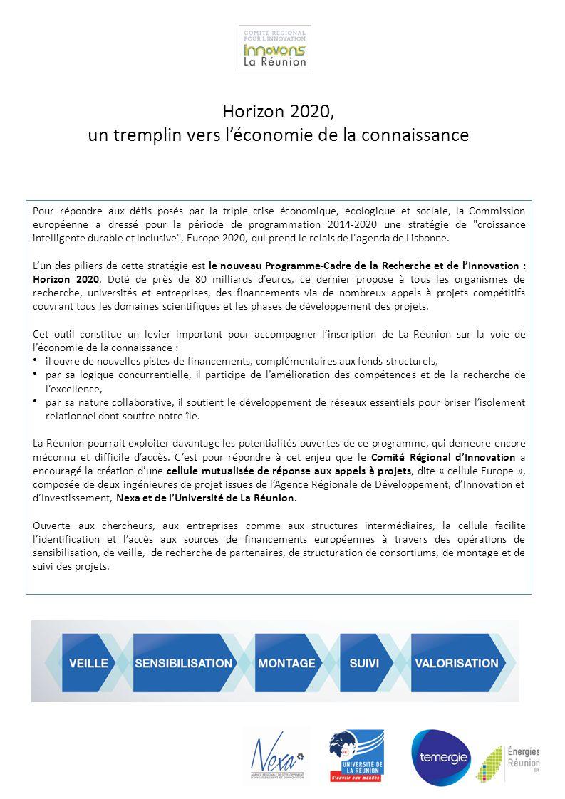 Pour répondre aux défis posés par la triple crise économique, écologique et sociale, la Commission européenne a dressé pour la période de programmation 2014-2020 une stratégie de croissance intelligente durable et inclusive , Europe 2020, qui prend le relais de l agenda de Lisbonne.