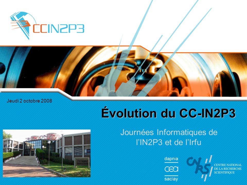 Jeudi 2 octobre 2008 Évolution du CC-IN2P3 Journées Informatiques de l'IN2P3 et de l'Irfu