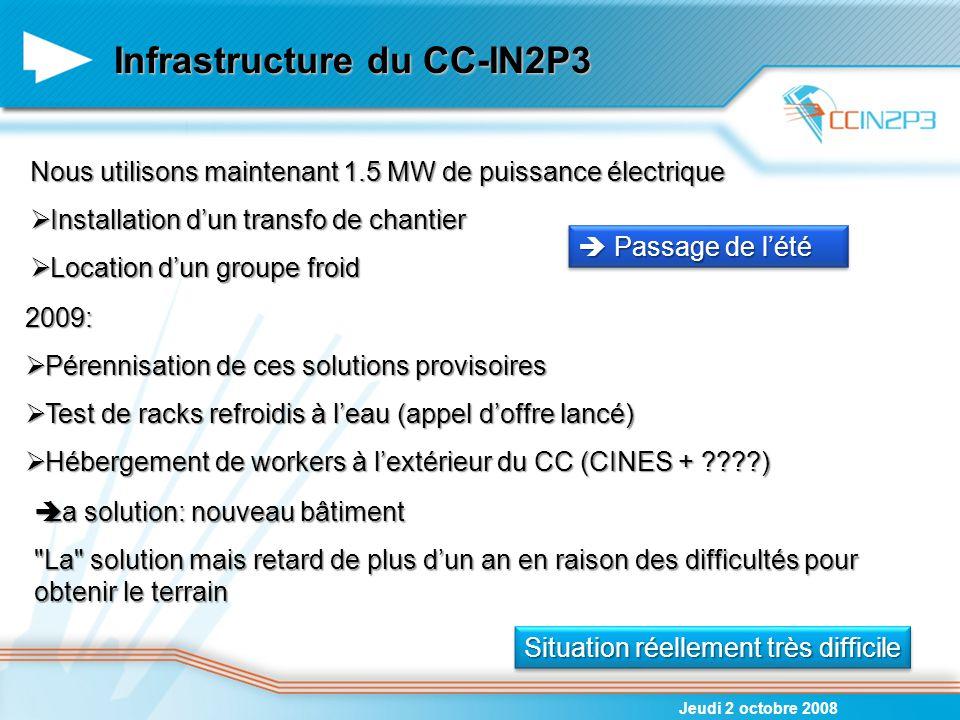 Infrastructure du CC-IN2P3 Jeudi 2 octobre 2008 Nous utilisons maintenant 1.5 MW de puissance électrique  Installation d'un transfo de chantier  Loc
