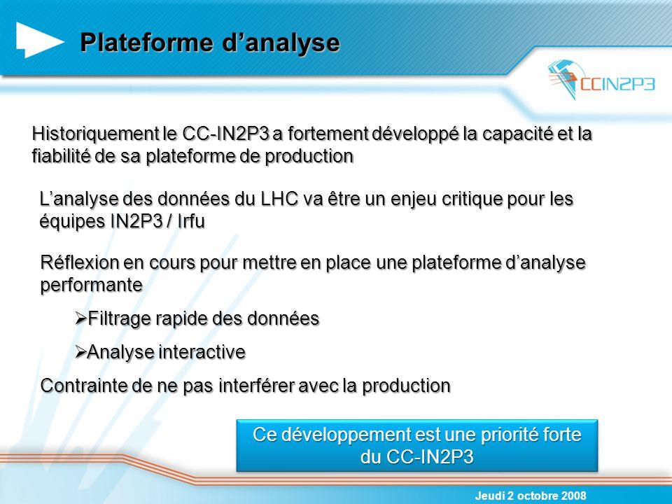 Plateforme d'analyse Jeudi 2 octobre 2008 Historiquement le CC-IN2P3 a fortement développé la capacité et la fiabilité de sa plateforme de production