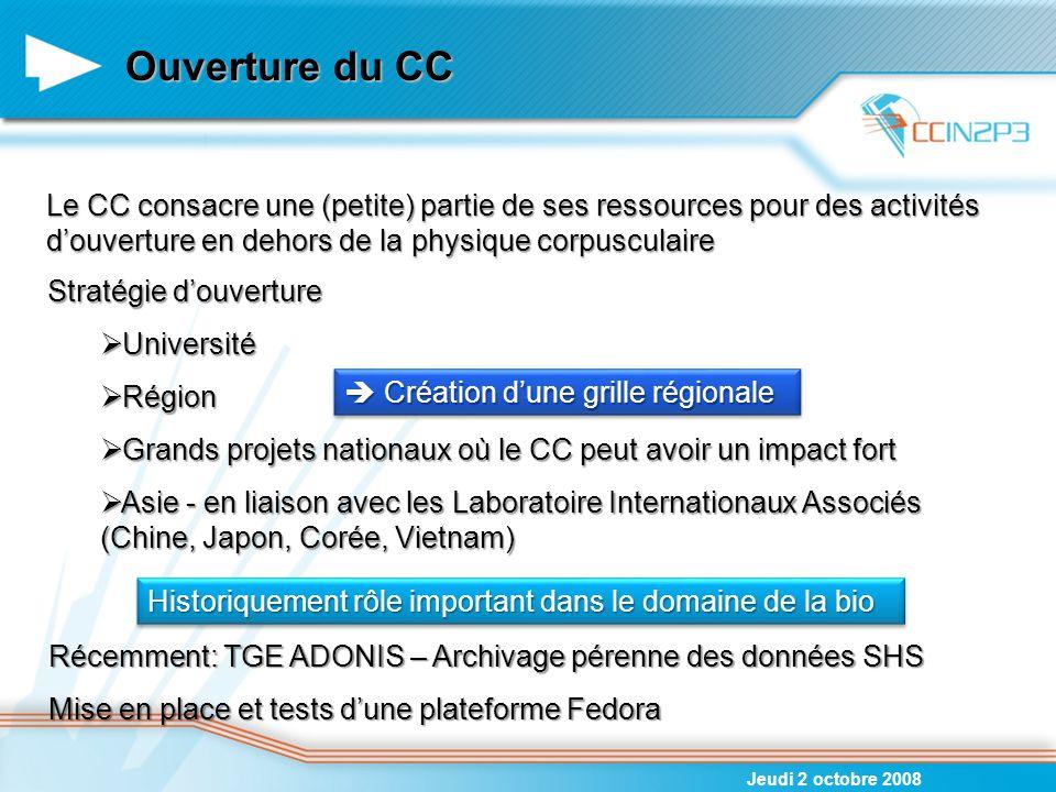 Ouverture du CC Jeudi 2 octobre 2008 Le CC consacre une (petite) partie de ses ressources pour des activités d'ouverture en dehors de la physique corp