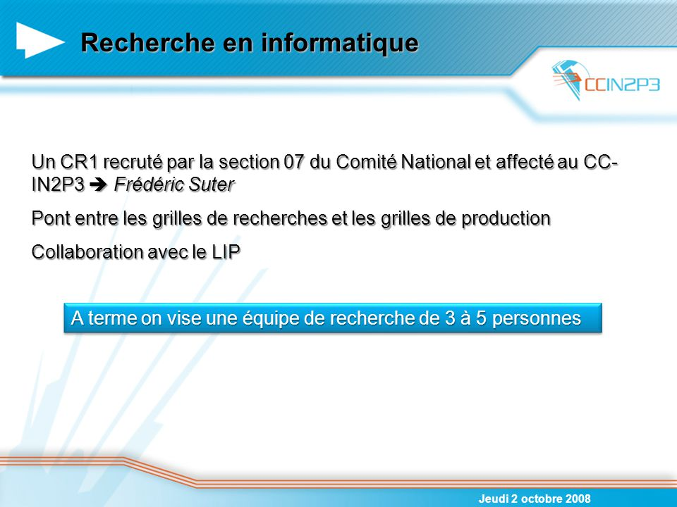 Recherche en informatique Jeudi 2 octobre 2008 Un CR1 recruté par la section 07 du Comité National et affecté au CC- IN2P3  Frédéric Suter Pont entre
