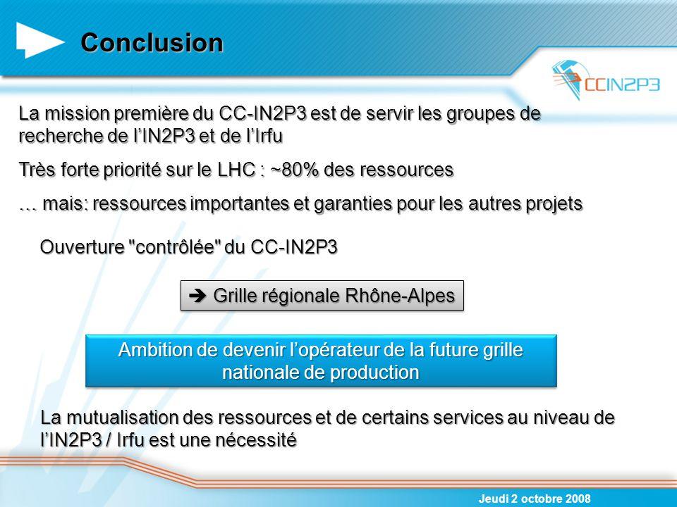 Conclusion Jeudi 2 octobre 2008 La mission première du CC-IN2P3 est de servir les groupes de recherche de l'IN2P3 et de l'Irfu Très forte priorité sur