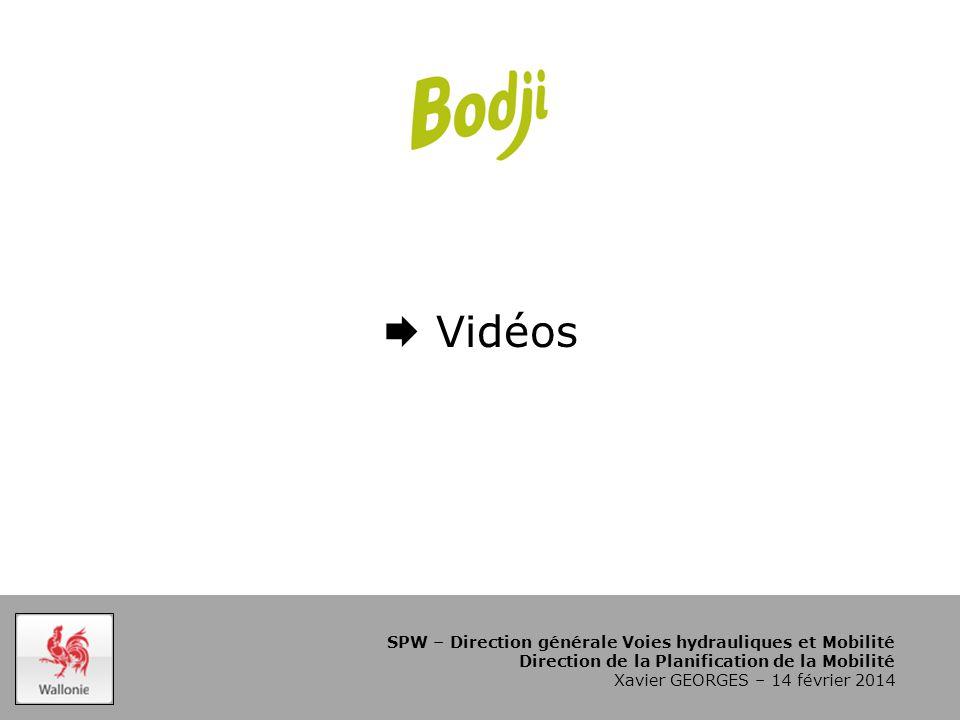 SPW – Direction générale Voies hydrauliques et Mobilité Direction de la Planification de la Mobilité Xavier GEORGES – 14 février 2014  Vidéos