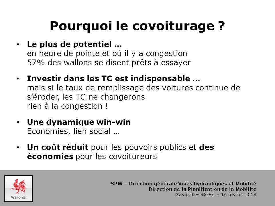SPW – Direction générale Voies hydrauliques et Mobilité Direction de la Planification de la Mobilité Xavier GEORGES – 14 février 2014 Pourquoi le covoiturage .