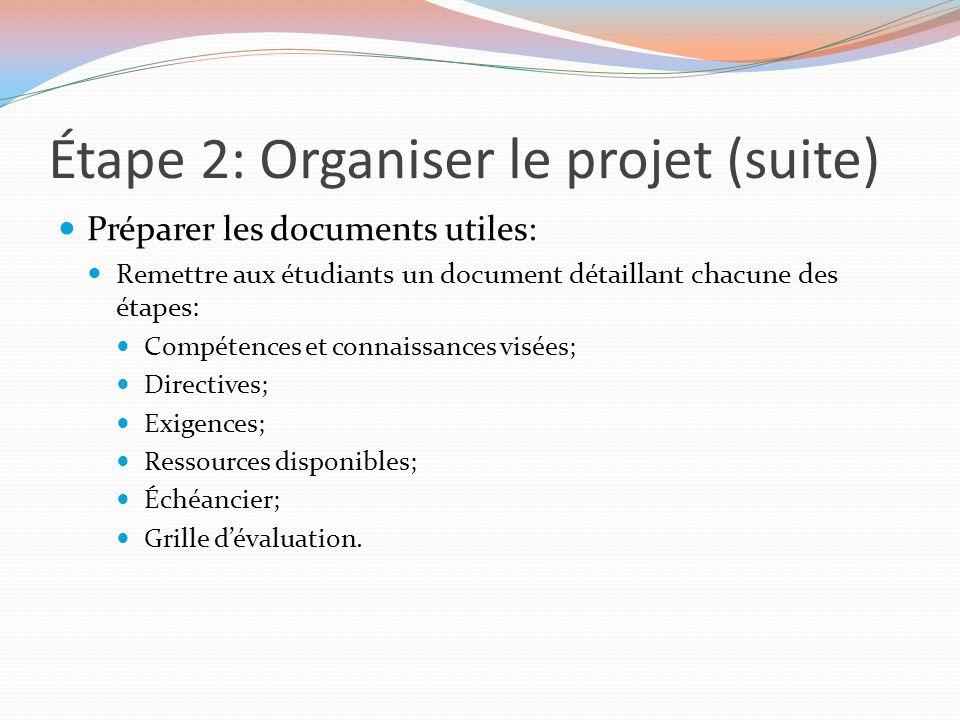 Étape 2: Organiser le projet (suite) Préparer les documents utiles: Remettre aux étudiants un document détaillant chacune des étapes: Compétences et c