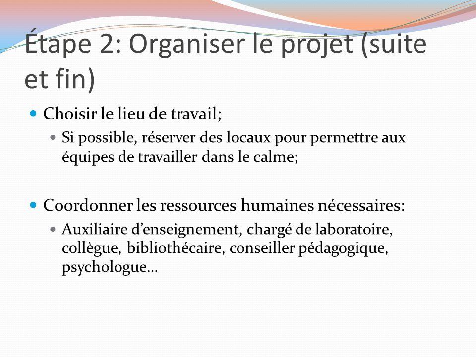 Étape 2: Organiser le projet (suite et fin) Choisir le lieu de travail; Si possible, réserver des locaux pour permettre aux équipes de travailler dans