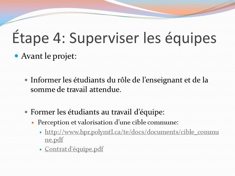 Étape 4: Superviser les équipes Avant le projet: Informer les étudiants du rôle de l'enseignant et de la somme de travail attendue. Former les étudian