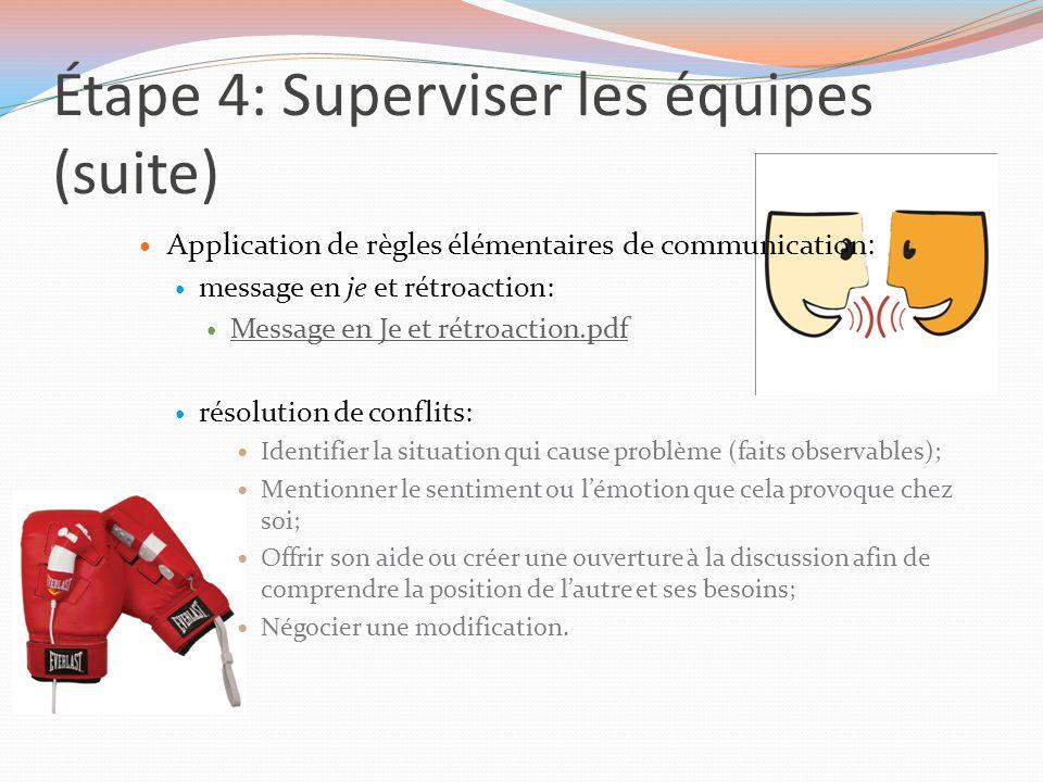 Étape 4: Superviser les équipes (suite) Application de règles élémentaires de communication: message en je et rétroaction: Message en Je et rétroactio
