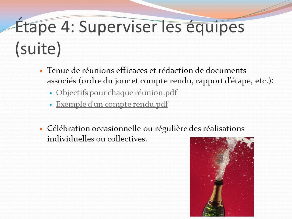 Étape 4: Superviser les équipes (suite) Tenue de réunions efficaces et rédaction de documents associés (ordre du jour et compte rendu, rapport d'étape