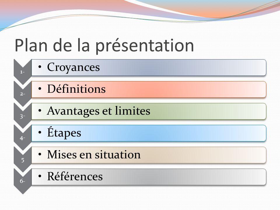 Plan de la présentation 1- Croyances 2- Définitions 3- Avantages et limites 4- Étapes 5 Mises en situation 6- Références