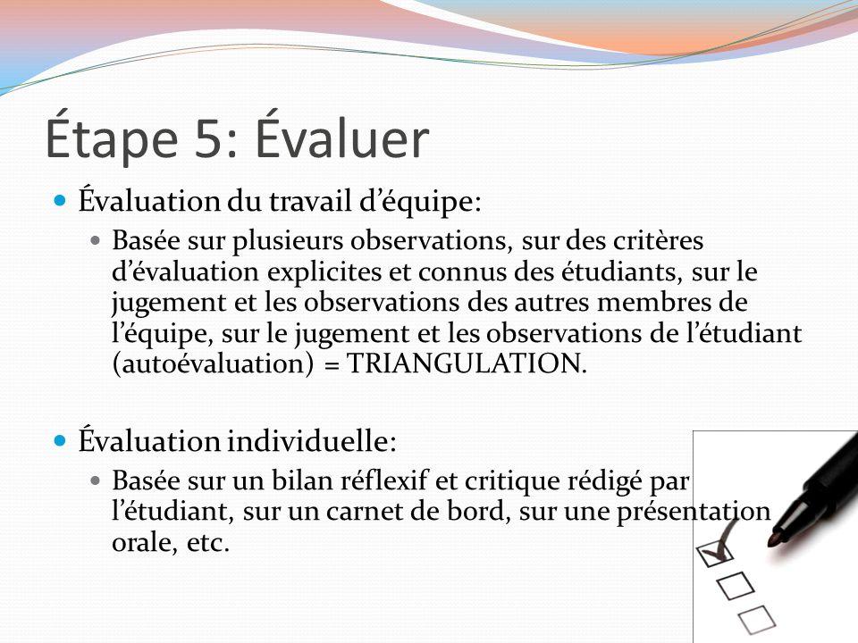 Étape 5: Évaluer Évaluation du travail d'équipe: Basée sur plusieurs observations, sur des critères d'évaluation explicites et connus des étudiants, s