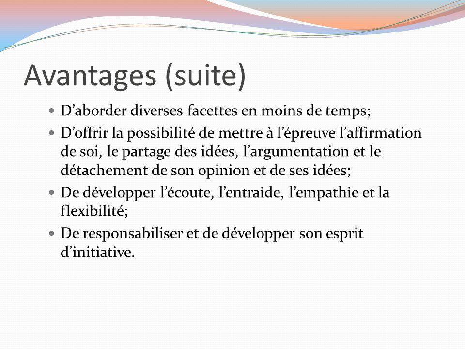 Étape 4: Superviser les équipes (suite) Partage des rôles au sein de l'équipe, à l'intérieur de laquelle chaque membre joue un rôle actif et où l'interdépendance positive est encouragée: Les rôles et tâches.pdf Tenue régulière d'activités d'évaluation du fonctionnement de l'équipe pour renforcer la solidarité du groupe: Règles de fonctionnement: Grille d évaluation du fonctionnement.pdf Tâches et rôles: Grille d'autoévaluation et d'évaluation des rôles attribués.pdf Grille d'autoévaluation et d'évaluation des rôles attribués.pdf