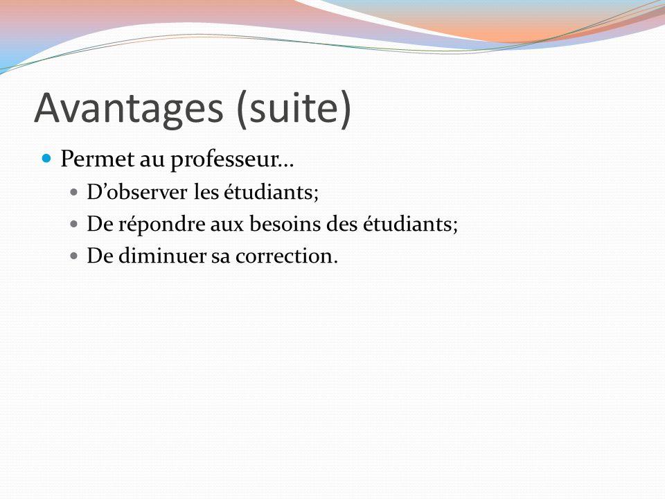 Avantages (suite) Permet au professeur… D'observer les étudiants; De répondre aux besoins des étudiants; De diminuer sa correction.