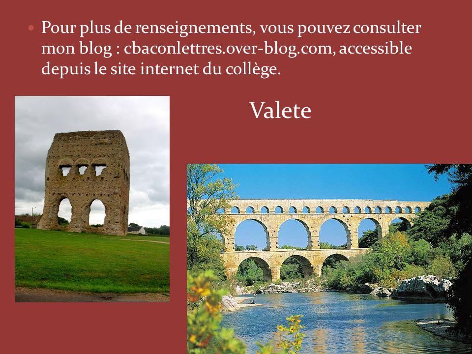 Pour plus de renseignements, vous pouvez consulter mon blog : cbaconlettres.over-blog.com, accessible depuis le site internet du collège.  V Valete