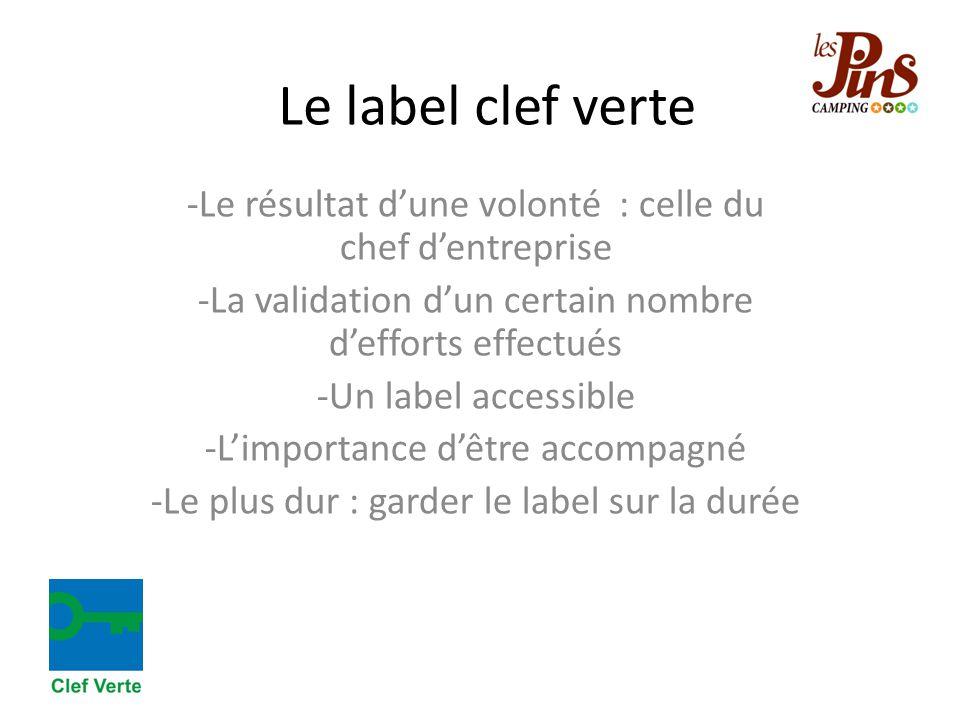 Le label clef verte -Le résultat d'une volonté : celle du chef d'entreprise -La validation d'un certain nombre d'efforts effectués -Un label accessibl