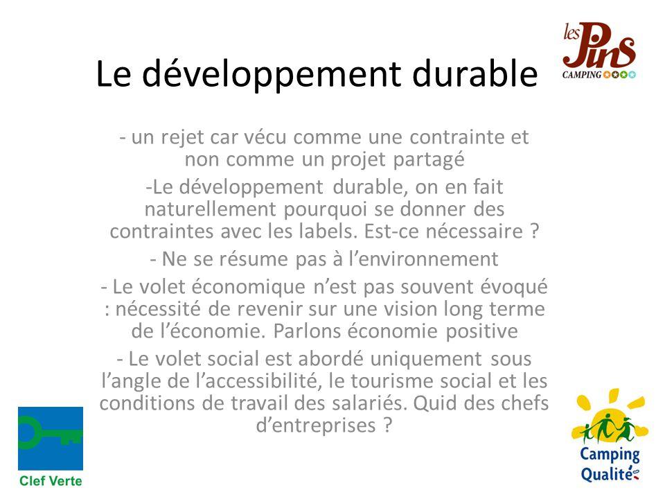 Le développement durable - un rejet car vécu comme une contrainte et non comme un projet partagé -Le développement durable, on en fait naturellement pourquoi se donner des contraintes avec les labels.