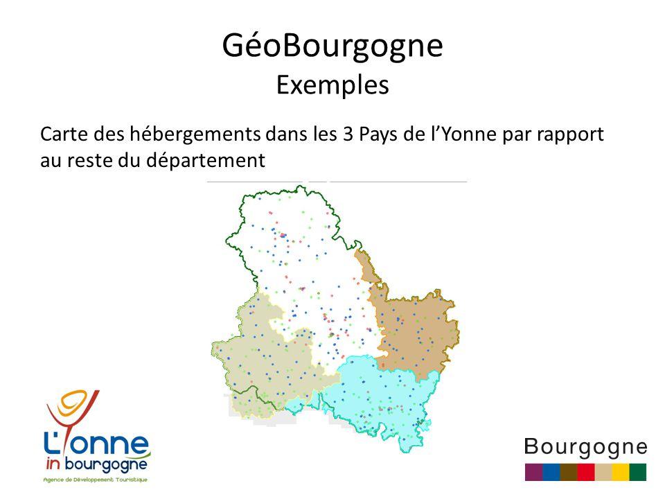GéoBourgogne Exemples Carte des hébergements dans les 3 Pays de l'Yonne par rapport au reste du département