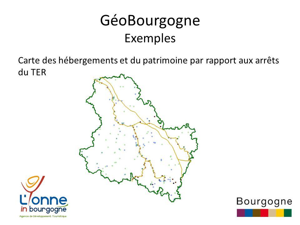 GéoBourgogne Exemples Carte des hébergements et du patrimoine par rapport aux arrêts du TER