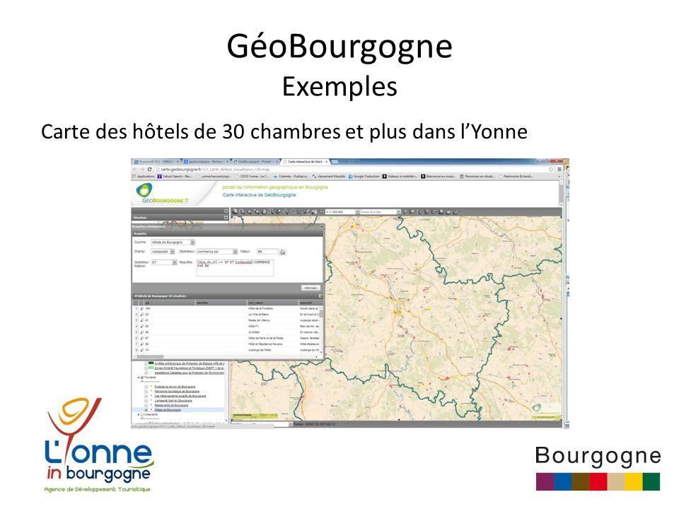GéoBourgogne Exemples Carte des hôtels de 30 chambres et plus dans l'Yonne