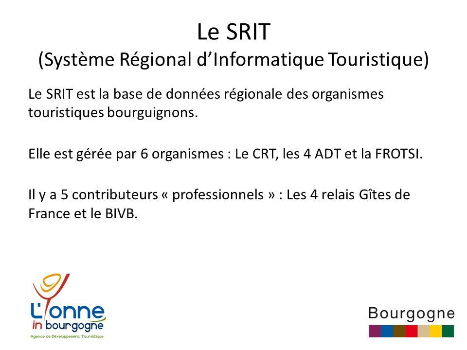 Le SRIT (Système Régional d'Informatique Touristique) Le SRIT est la base de données régionale des organismes touristiques bourguignons.