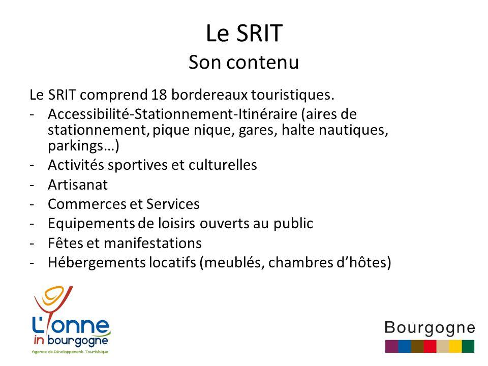 Le SRIT Son contenu Le SRIT comprend 18 bordereaux touristiques.
