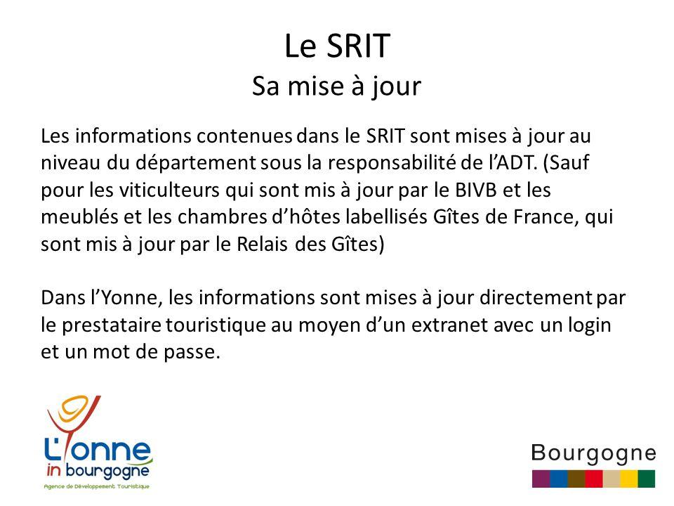 Le SRIT Sa mise à jour Les informations contenues dans le SRIT sont mises à jour au niveau du département sous la responsabilité de l'ADT.