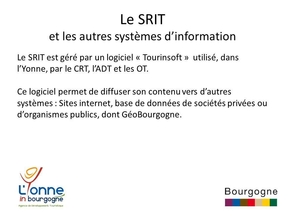 Le SRIT et les autres systèmes d'information Le SRIT est géré par un logiciel « Tourinsoft » utilisé, dans l'Yonne, par le CRT, l'ADT et les OT.