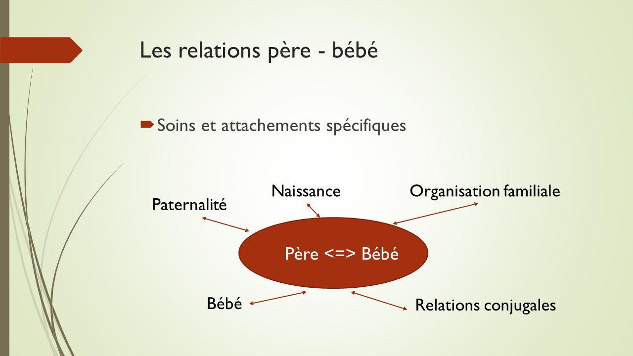 Les relations père - bébé  Soins et attachements spécifiques Père Bébé Naissance Paternalité Organisation familiale Relations conjugales Bébé