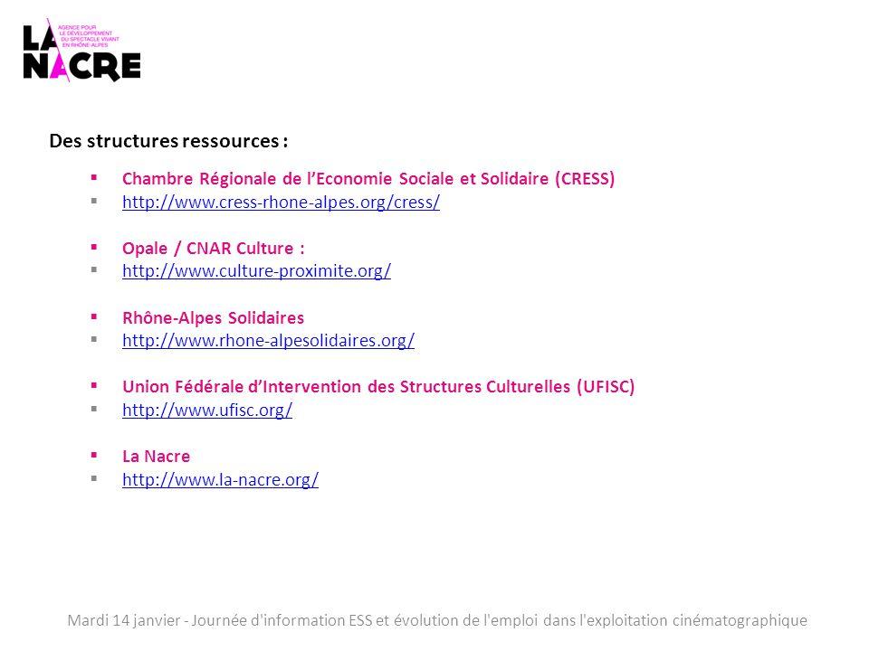 Mardi 14 janvier - Journée d information ESS et évolution de l emploi dans l exploitation cinématographique Des structures ressources :  Chambre Régionale de l'Economie Sociale et Solidaire (CRESS)  http://www.cress-rhone-alpes.org/cress/ http://www.cress-rhone-alpes.org/cress/  Opale / CNAR Culture :  http://www.culture-proximite.org/ http://www.culture-proximite.org/  Rhône-Alpes Solidaires  http://www.rhone-alpesolidaires.org/ http://www.rhone-alpesolidaires.org/  Union Fédérale d'Intervention des Structures Culturelles (UFISC)  http://www.ufisc.org/ http://www.ufisc.org/  La Nacre  http://www.la-nacre.org/ http://www.la-nacre.org/