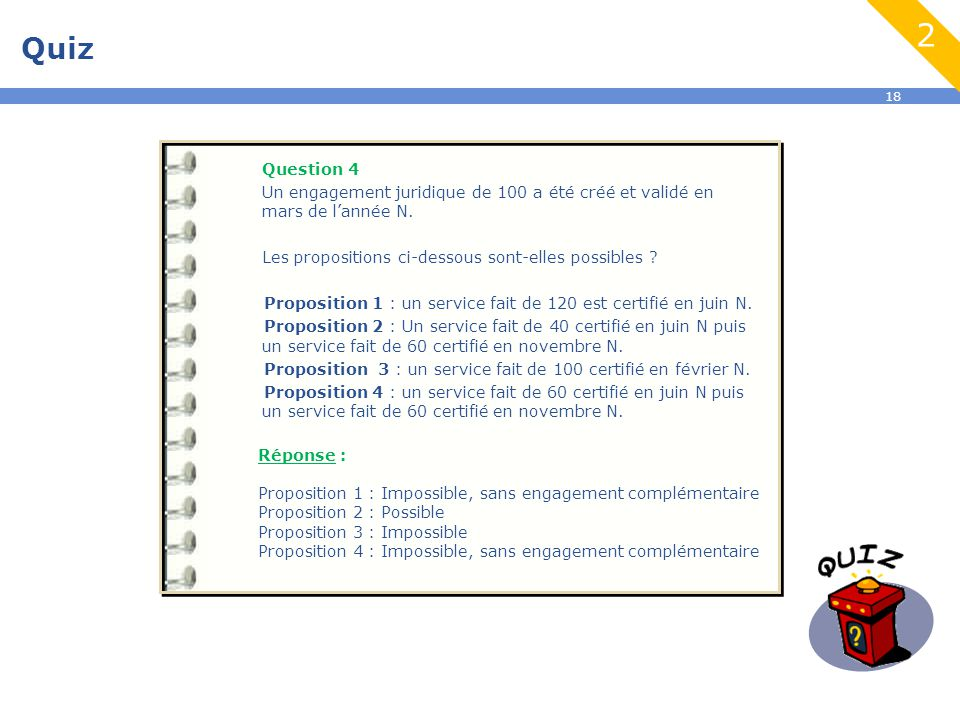 18 Quiz 2 Question 4 Un engagement juridique de 100 a été créé et validé en mars de l'année N.