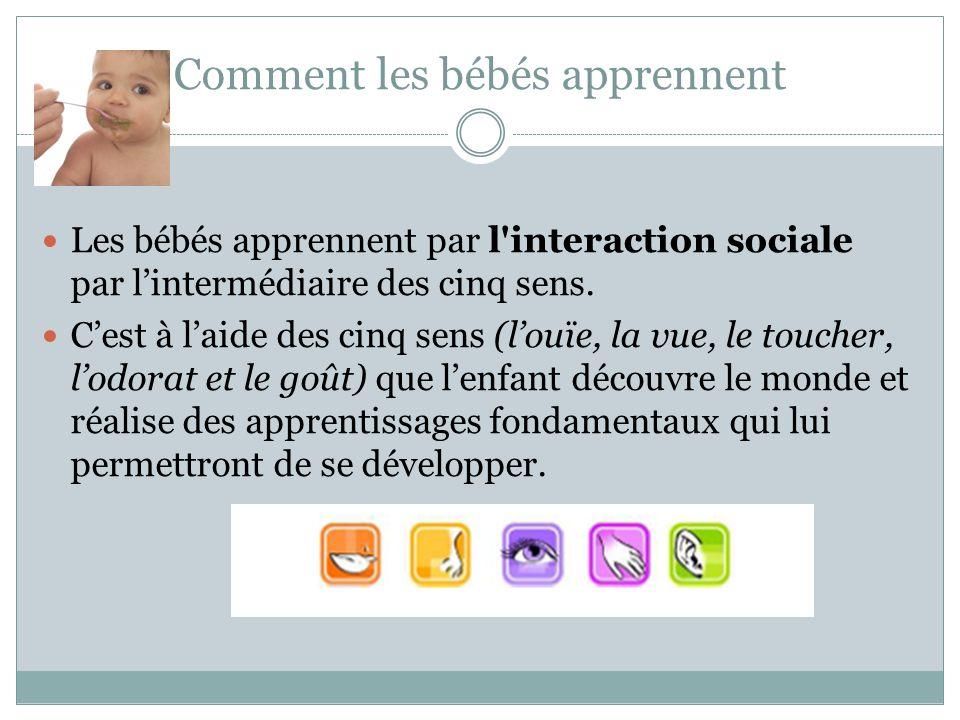 Comment les bébés apprennent Les bébés apprennent par l interaction sociale par l'intermédiaire des cinq sens.
