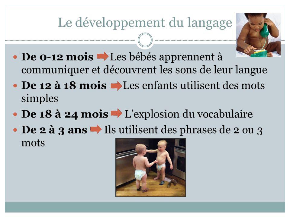 Le développement du langage De 0-12 mois Les bébés apprennent à communiquer et découvrent les sons de leur langue De 12 à 18 mois Les enfants utilisent des mots simples De 18 à 24 mois L'explosion du vocabulaire De 2 à 3 ans Ils utilisent des phrases de 2 ou 3 mots