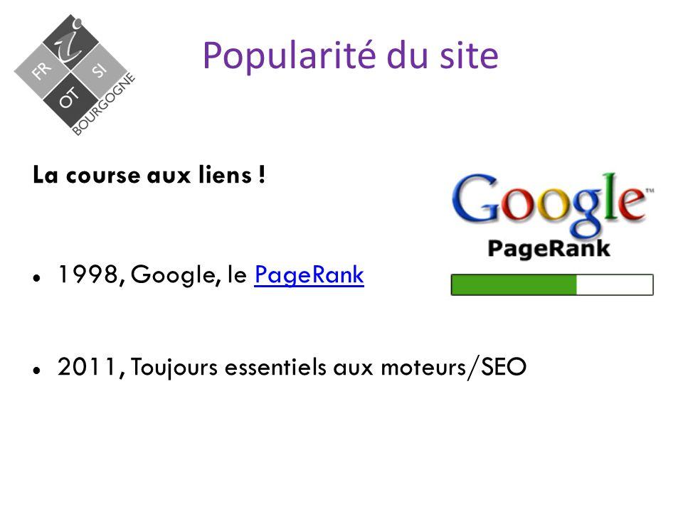 Popularité du site La course aux liens .