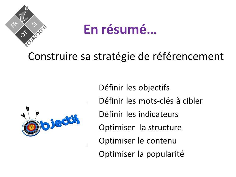 En résumé… Construire sa stratégie de référencement Définir les objectifs Définir les mots-clés à cibler Définir les indicateurs Optimiser la structure Optimiser le contenu Optimiser la popularité