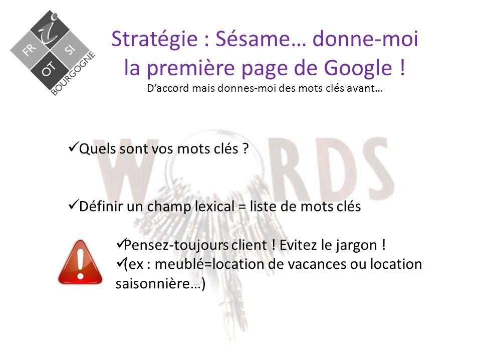 Stratégie : Sésame… donne-moi la première page de Google .