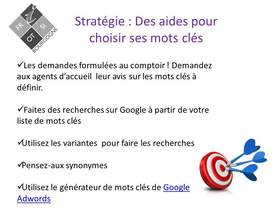 Stratégie : Des aides pour choisir ses mots clés Les demandes formulées au comptoir .