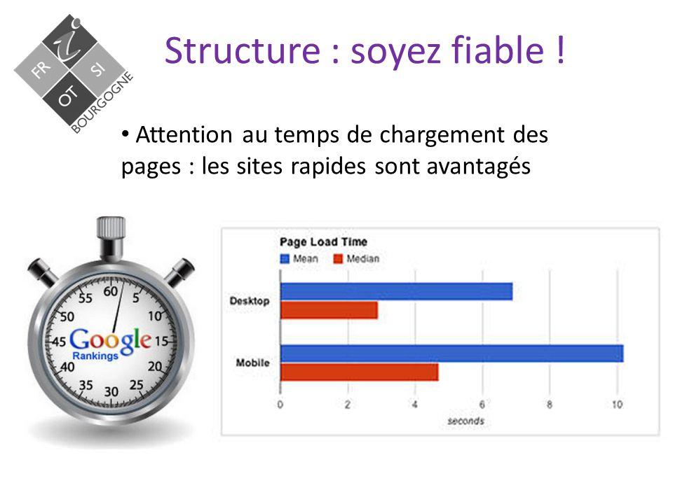 Structure : soyez fiable ! Attention aux erreurs : les site avec beaucoup d'erreurs sont pénalisés