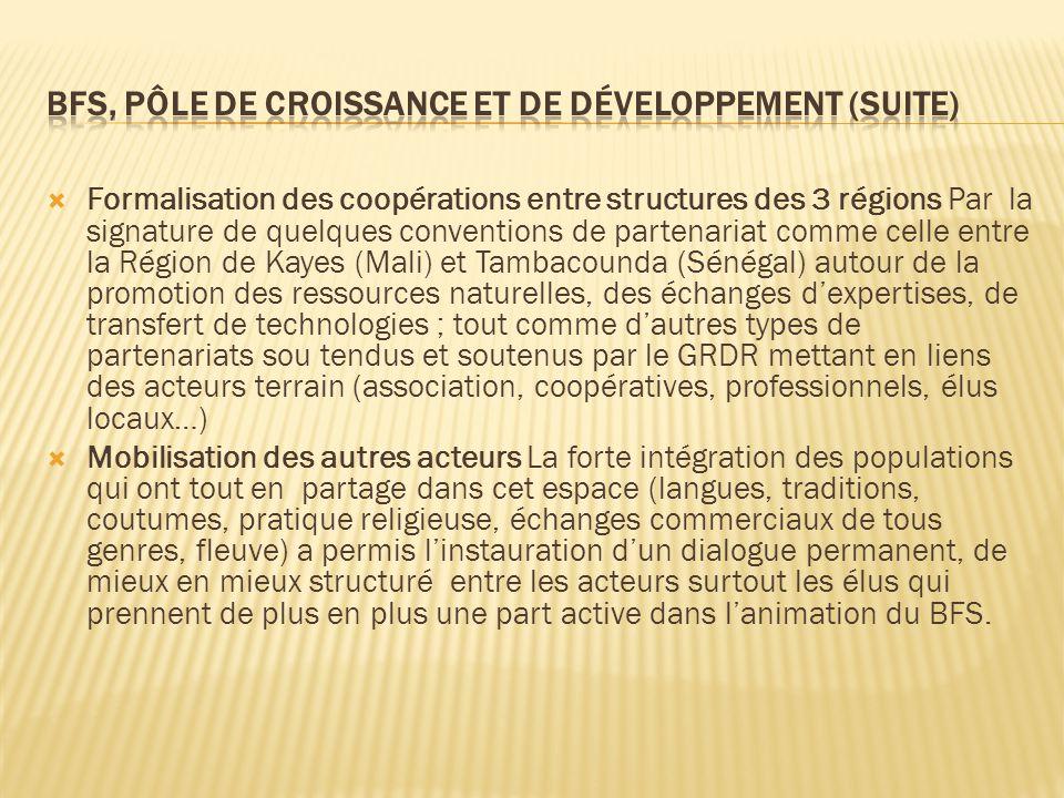  Formalisation des coopérations entre structures des 3 régions Par la signature de quelques conventions de partenariat comme celle entre la Région de