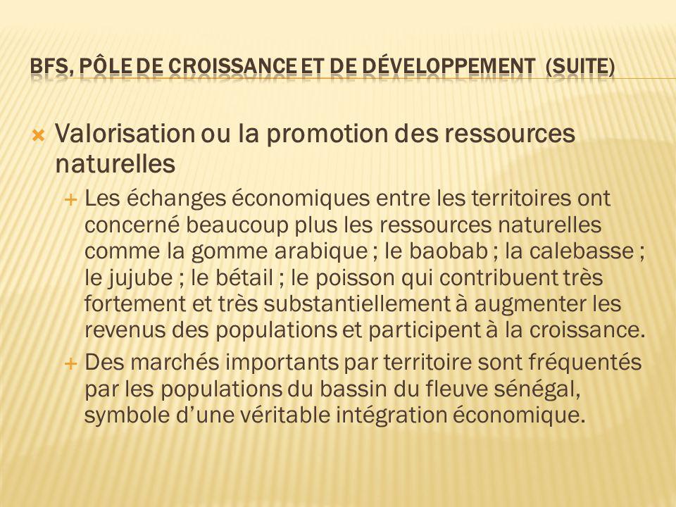  Valorisation ou la promotion des ressources naturelles  Les échanges économiques entre les territoires ont concerné beaucoup plus les ressources na