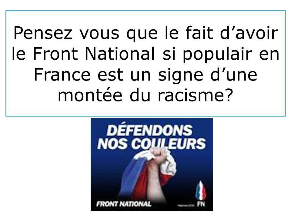 Pensez vous que le fait d'avoir le Front National si populair en France est un signe d'une montée du racisme