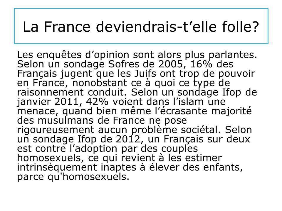 La France deviendrais-t'elle folle. Les enquêtes d'opinion sont alors plus parlantes.
