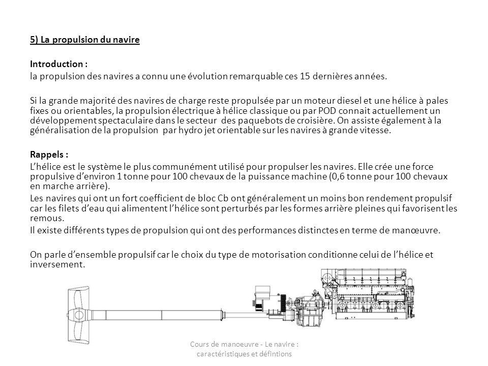 5) La propulsion du navire Introduction : la propulsion des navires a connu une évolution remarquable ces 15 dernières années. Si la grande majorité d