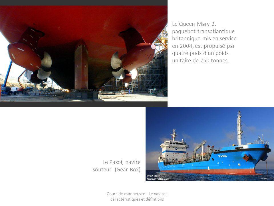 Le Queen Mary 2, paquebot transatlantique britannique mis en service en 2004, est propulsé par quatre pods d'un poids unitaire de 250 tonnes. Le Paxoi